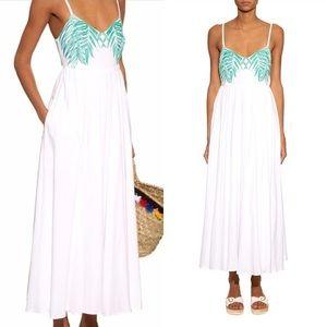 Mara Hoffman Palm Print Embroidered Maxi Dress